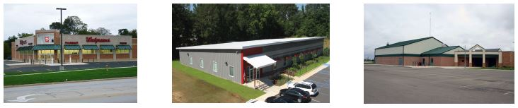 Commercial buildings constructed with metal wall and roof panels